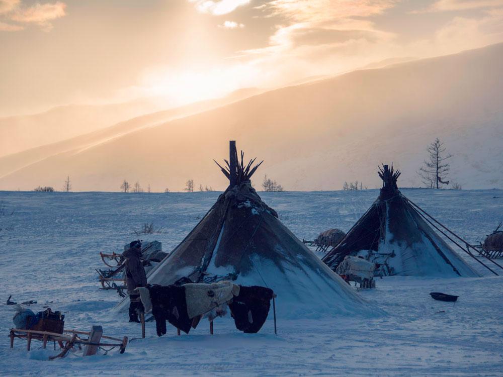 The reindeer herdsmen's camp at dawn
