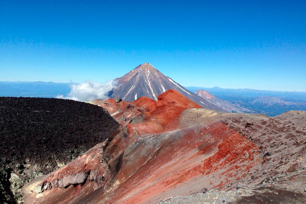 View from the crater of Avachinsky volcano on Koryaksky volcano