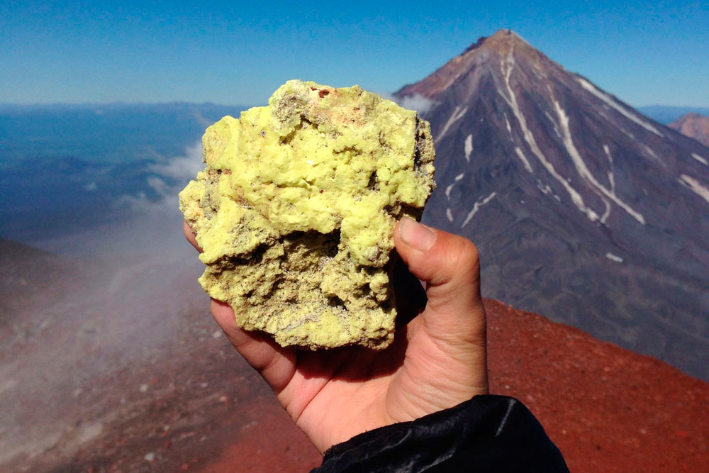 A piece of volcanic sulfur from the crater of the Avachinsky volcano