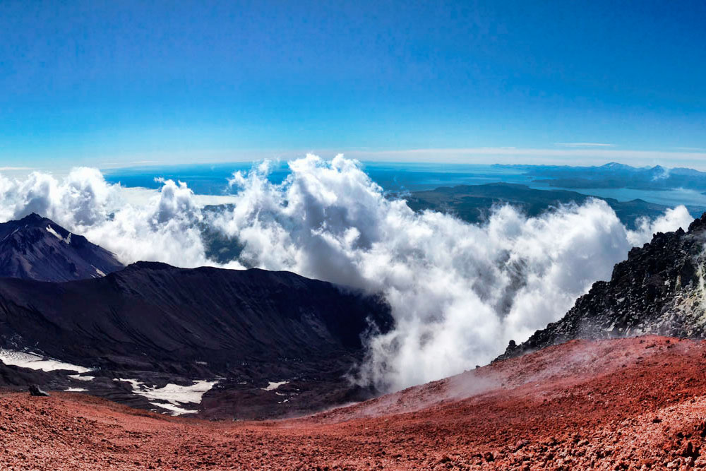 Panorama of the Pacific Ocean and Avacha Bay from the top of the Avachinsky volcano