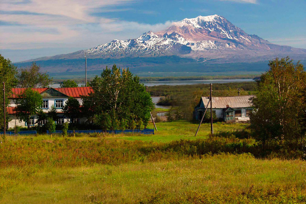 View of Sheveluch volcano from Klyuchi village