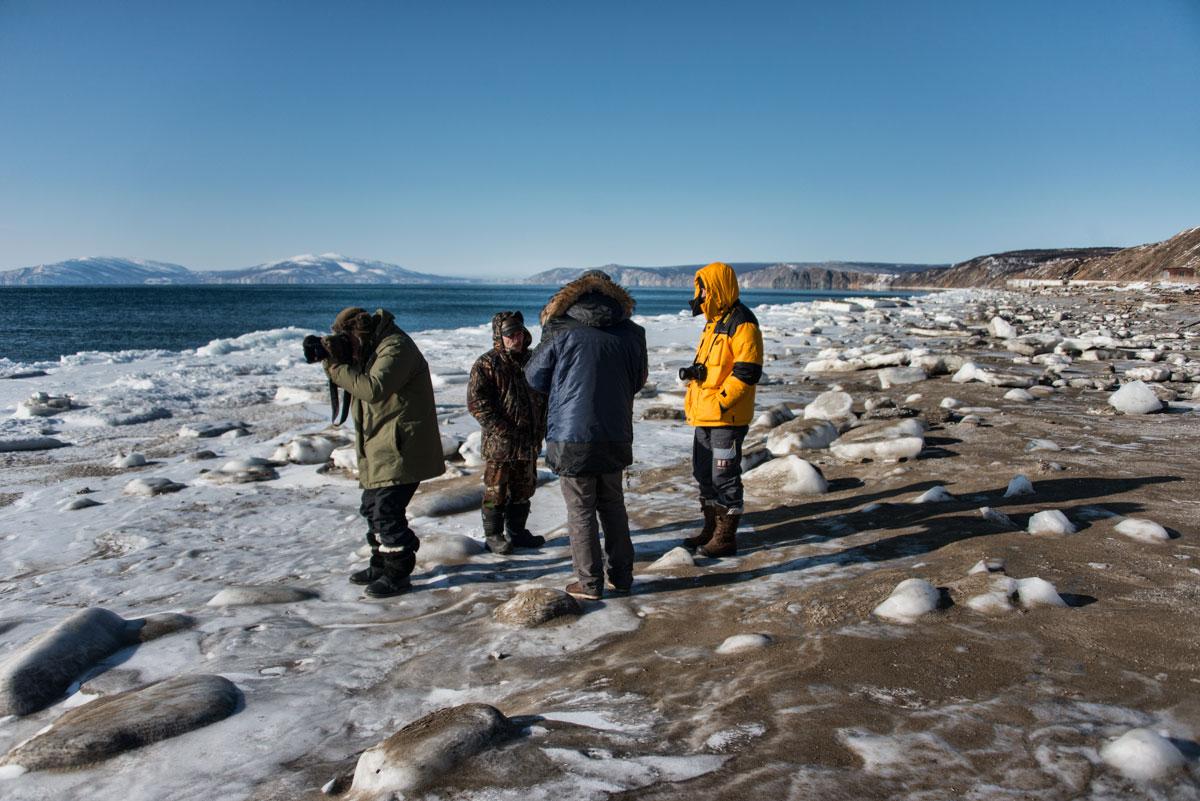 Побережье Охотского моря зимой