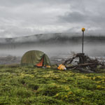 The expedition in Yakutia. Overnight in the rain