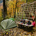 Abkhazia. Autumn. The camp in the forest near the unfinished ... it is not clear what