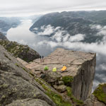 Tour to Norway. Overnight on the cliff Preikestolen