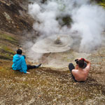 Travel around Iceland. Observation of a boiling volcanic cauldron.