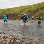 Travel around Iceland. The fording of mountain rivers.