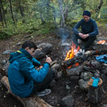 Hike to Hibiny mountains. Evening fire in the forest zone