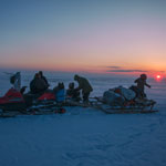 Arctic expedition. Sunset in the tundra on the way to the thermal spring of Pom Wa Shor