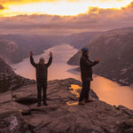 Travel to Norway. We meet the dawn near the cliff Preikestolen