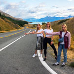 Traveling in New Zealand. Photosession on a beautiful road