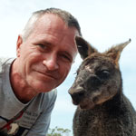 Traveling in Australia. Close communication with an almost wild kangaroo